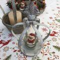 Grey metal crown and fleur de Lys pot and candel holder