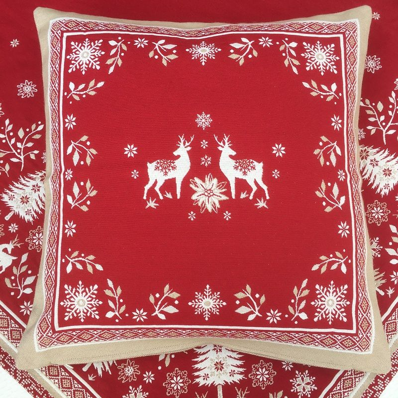 """jacquard cushion cover """"Vallée"""" ecru and red Tissus Tosseli"""