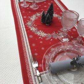 """Chemin de table en Jacquard """"Savoie"""" rouge et gris Tissus Tosseli"""