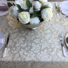"Round coated cotton tablecloth ""Versailles"" naturel and beige"