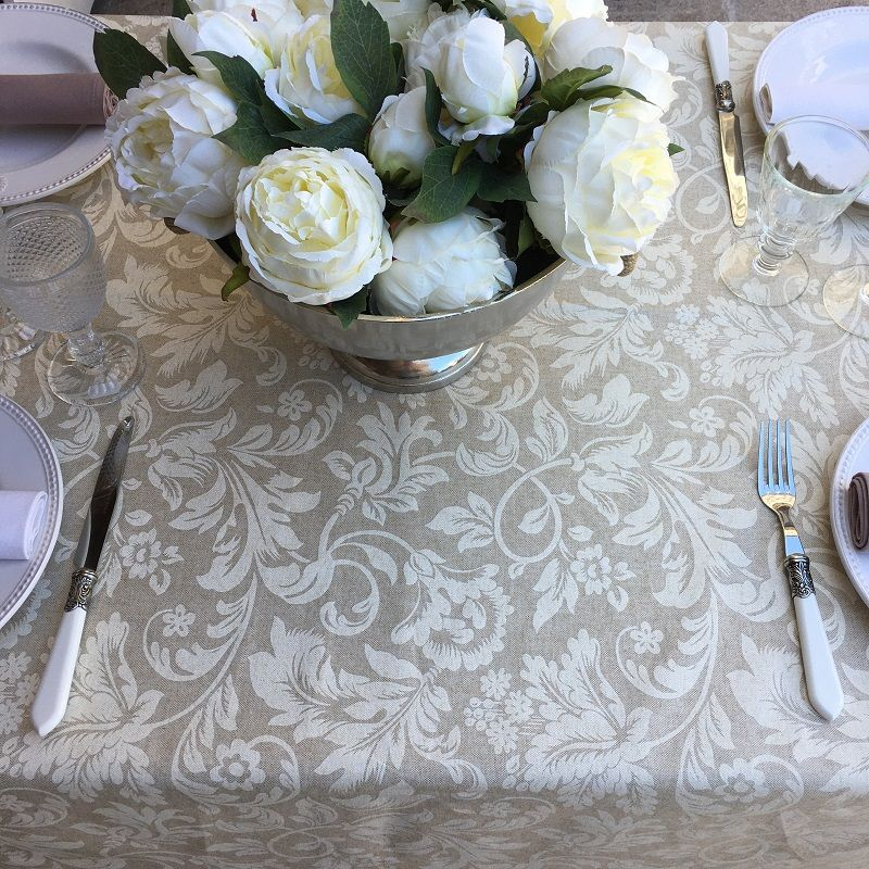 """Round coated cotton tablecloth """"Versailles"""" naturel and beige"""