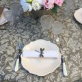"Round coated cotton tablecloth ""Versailles"" ecru and linen"