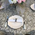 "Round coated cotton tablecloth ""Versailles"" beige and linen"