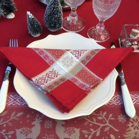"Jacquard table napkins ""Vars"" red  by Tissus Toselli"