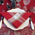 """Serviette de table Jacquard """"Vars"""" rouge , Tissus Toselli"""