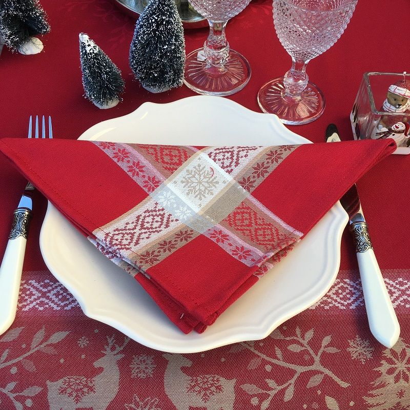 """Jacquard table napkins """"Vars"""" red  by Tissus Toselli"""
