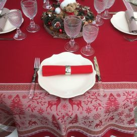 "Rectangular Jacquard tablecloth ""Vars"" red by Tissus Toselli"