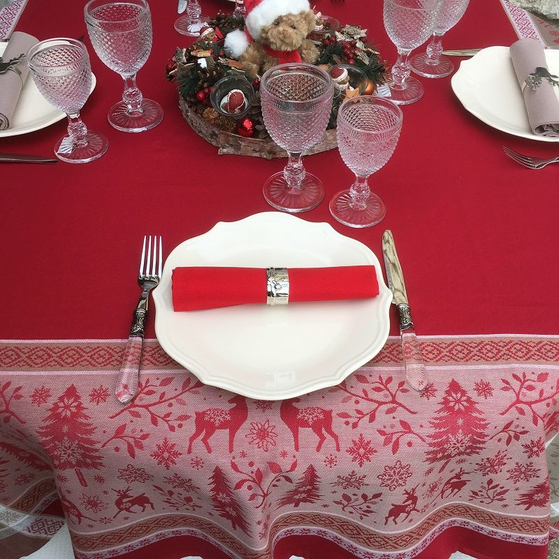 """Rectangular Jacquard tablecloth """"Vars"""" red by Tissus Toselli"""