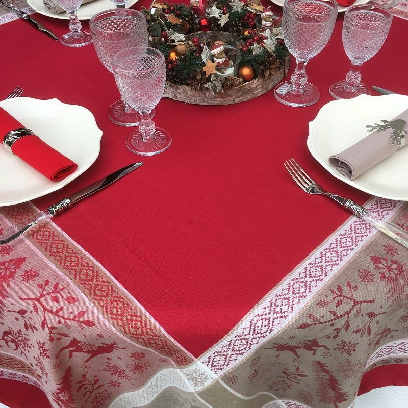 """Nappe rectangulaire Jacquard """"Vars"""" rouge Tissus Toselli"""