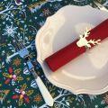 """Nappe en coton enduit """"Laponie"""" vert et rouge, Tissus Toselli, Nice"""