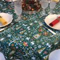 "Coated cotton tablecloth ""Laponie"" green and red, Tissus Toselli, made in Nice"