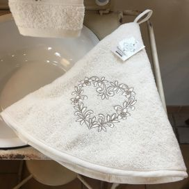 "Embrodery round hand towel ""Heart"" ecru"