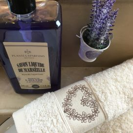 """Embrodery guest hand towel """"Heart"""" ecru"""