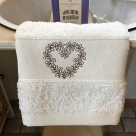 "Bath towel ""Heart"" ecru by Tissus Toselli"