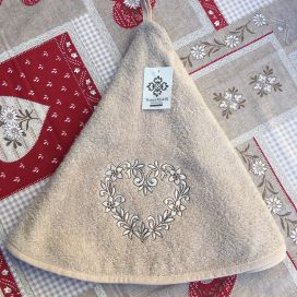 "Embrodery round hand towel ""Heart"" beige"