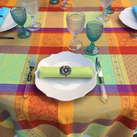 "Round coated Jacquard tablecloth ""Valescure"" Orange"