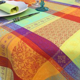 """Rectangular coated Jacquard tablecloth """"Maussane"""" Orange"""