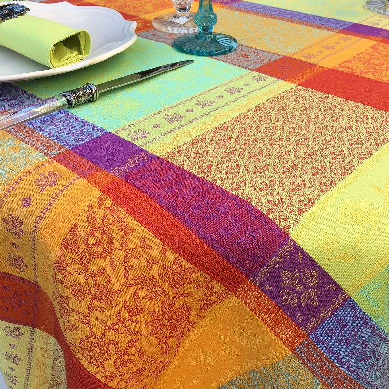 "Rectangular coated Jacquard tablecloth ""Valescure"" Orange"