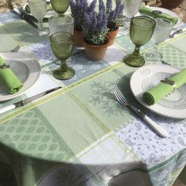 "Round coated Jacquard tablecloth ""Valbonne"" green"