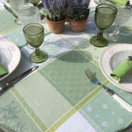 "Rectangular coated Jacquard tablecloth ""Valbonne"" green"