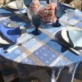 "Round coated Jacquard tablecloth ""Valescure"" blue and beige"
