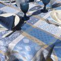 """Nappe ronde Jacquard enduit """"Valescure"""" bleu et beige"""