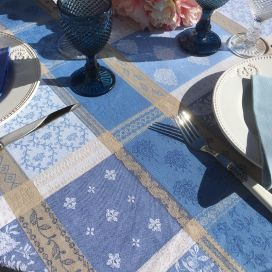 """Round coated Jacquard tablecloth """"Valescure"""" blue and beige"""