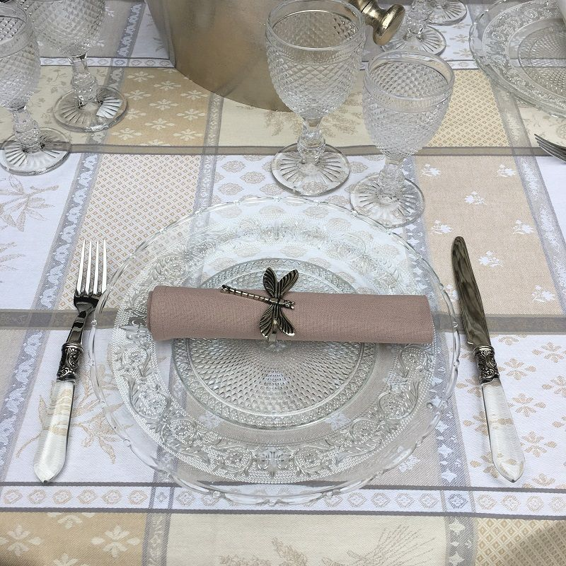 "Rectangular coated Jacquard tablecloth ""Valbonne"" ecru and beige"