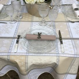 "Round coated Jacquard tablecloth ""Valbonne"" ecru and beige"