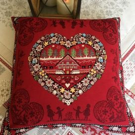 "jacquard cushion cover ""Plagne"" red Tissus Tosseli"