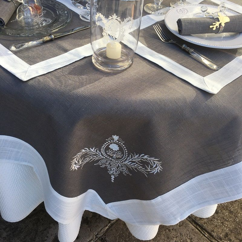 """Round linen and polyester tablecloth """"Elégance"""" grey and white  linen bordure"""