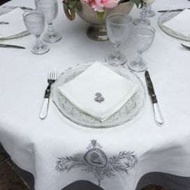 "Round linen and polyester tablecloth ""Elégance"" white and grey linen bordure"
