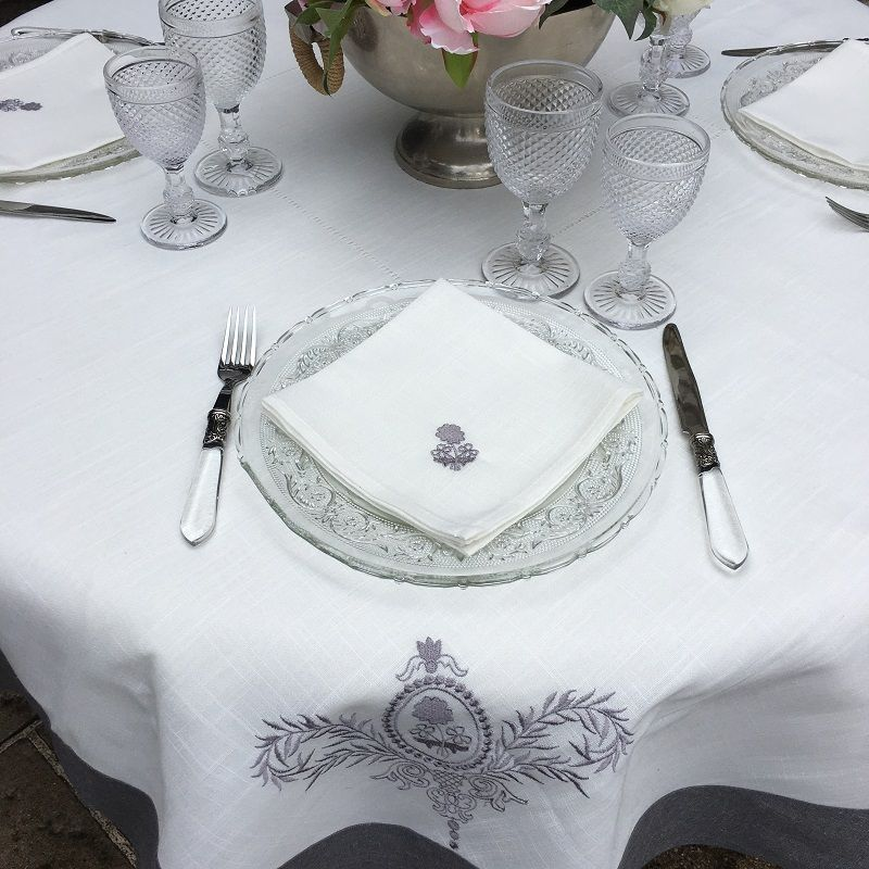 """Round linen and polyester tablecloth """"Elégance"""" white and grey linen bordure"""