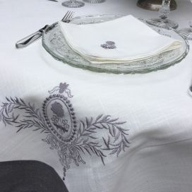 "Rectangular linen and polyester tablecloth ""Elégance"" white and grey linen bordure"