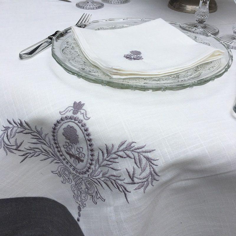 """Nappe rectangulaire lin et polyester """"Elégance"""" blanc et bordure lin gris"""