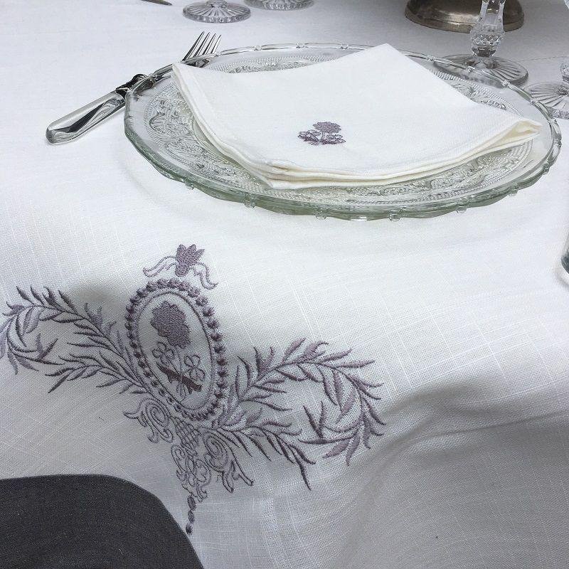 """Rectangular linen and polyester tablecloth """"Elégance"""" white and grey linen bordure"""