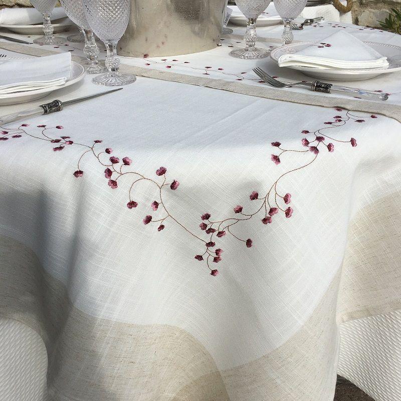 "Nappe ronde lin et polyester ""Fleurs roses"" blanc bordure lin"