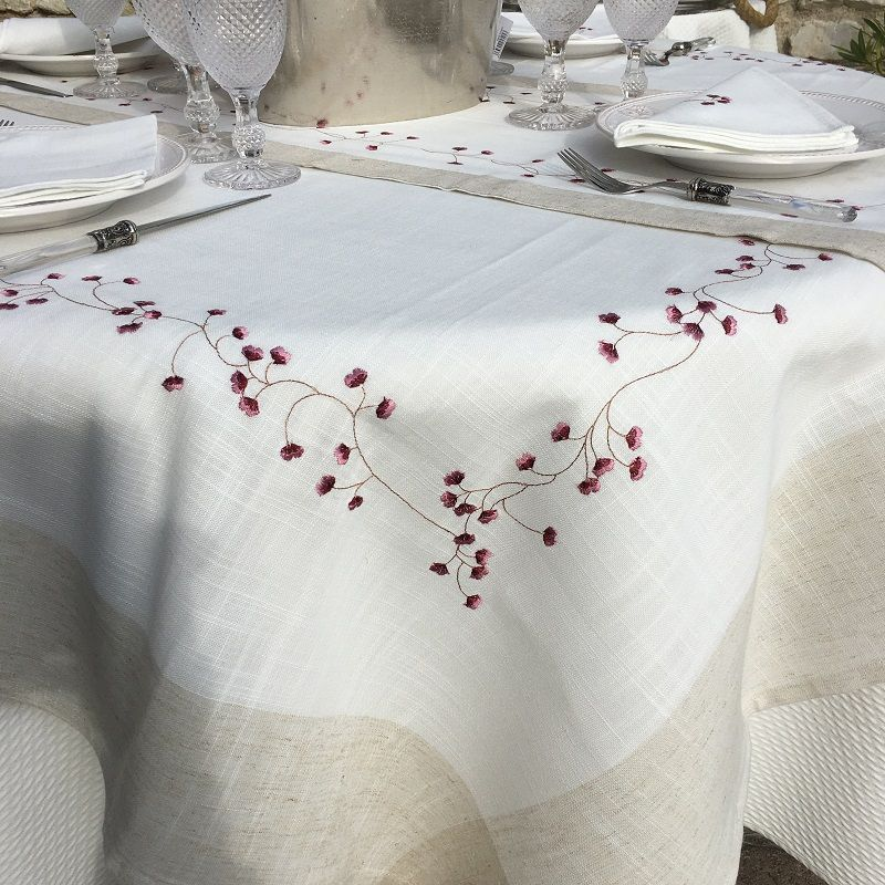 """Round linen and polyester tablecloth """"Fleurs roses"""" white and linen bordure"""