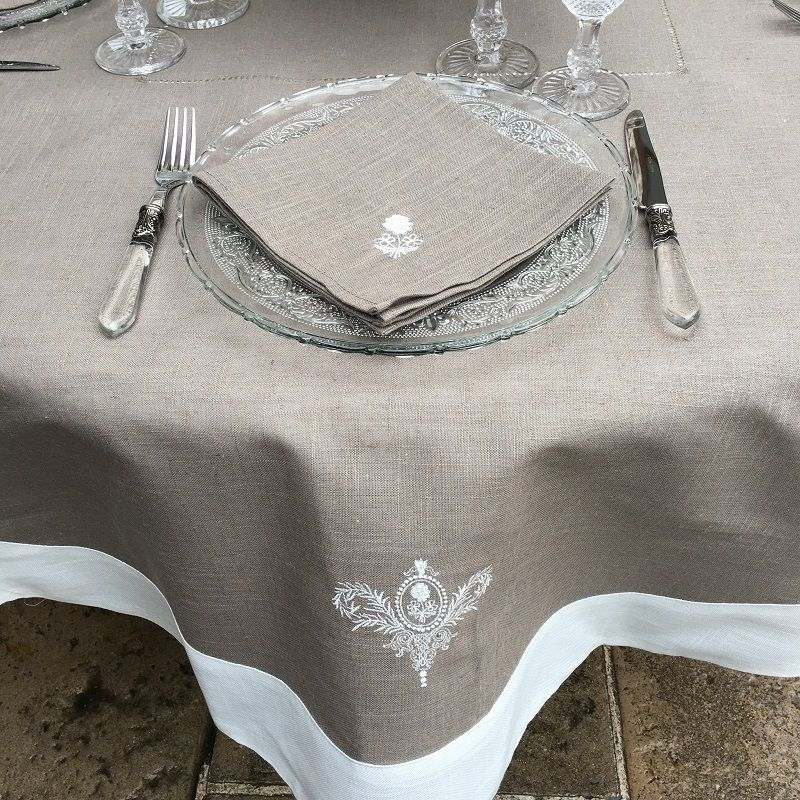 "Round linen and polyester tablecloth ""Elégance"" taupe and white  linen bordure"