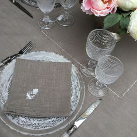 "Rectangular linen and polyester tablecloth ""Elégance"" taupe and white  linen bordure"