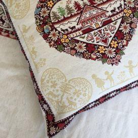 "jacquard cushion cover ""Plagne"" ecru Tissus Tosseli"