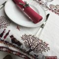 """Square Jacquard tablecloth """"Plagne"""" off white and chocolate , Tissus Toselli"""