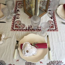 "Rectanglar Jacquard tablecloth ""Plagne"" off white and chocolate , Tissus Toselli"