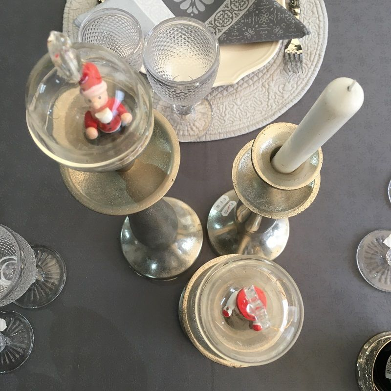 Set of 3 silvery candle holder