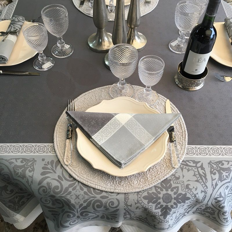"Serviette de table Sud Etoffe ""Alicante"" gris"