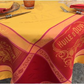 "Rectangular Jacquard polyester tablecloth ""Picholine"" orange color from ""Sud Etoffe"""
