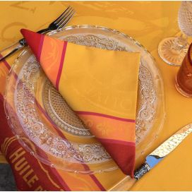 "Set of 4 table napkins  Sud Etoffe ""Picholine"" orange"