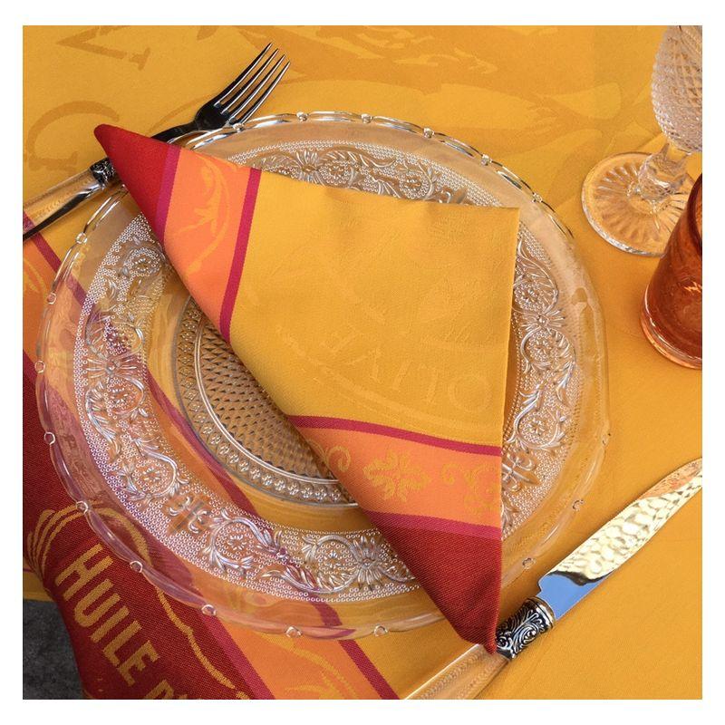 """Set de 4 serviettes de table Sud Etoffe """"Picholine"""" orange"""