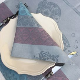 "Set of 8 table napkins  Sud Etoffe ""Poissons"" grey and pink"