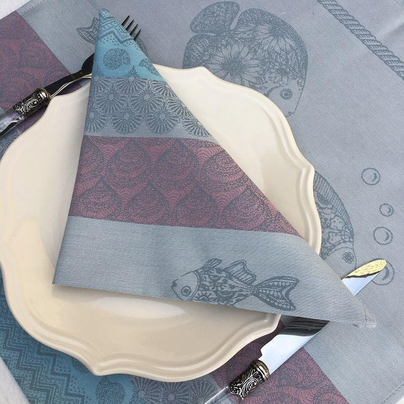 """Set of 8 table napkins  Sud Etoffe """"Poissons"""" grey and pink"""